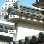 めずらしい徳島県貞光町の二層卯建 吉野川の上流で支流の貞光の川沿い南岸の卯建には、鏝絵が施されている。