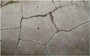 床のモルタルが亀甲状に割れて、雨水が侵入した形跡が見られます。